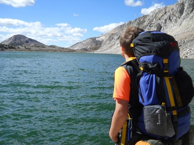 Backpacking by a lake