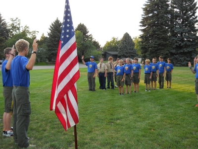 Outside troop meeting
