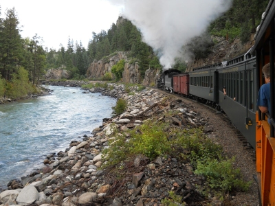 Riding the D&SNG steam train